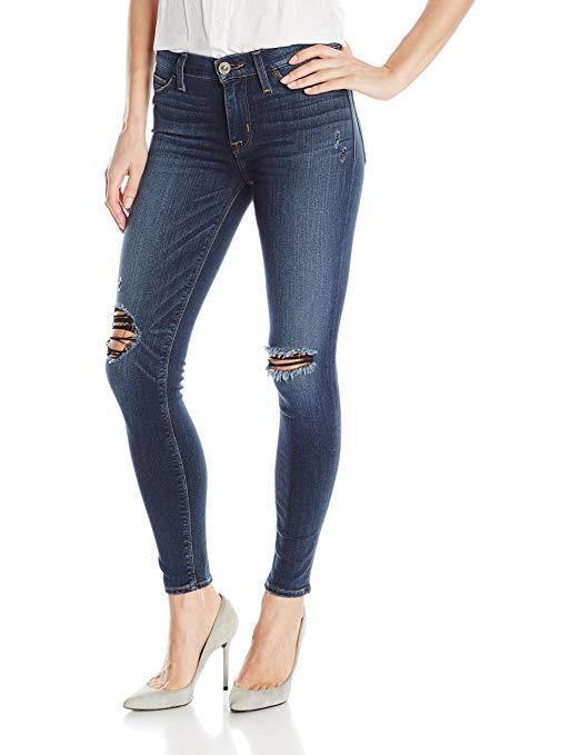 Hudson Women's Nico Midrise Ankle W Distress Super Skinny Jeans Size 31 BCH14