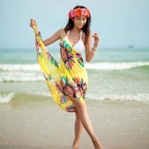 Damen Badeanzug Bademode Kleider Bikini Cover Up Strandkleid Sarong Wrap