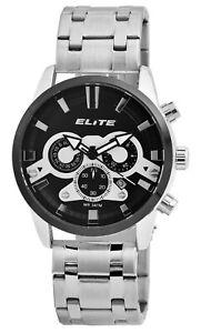 Elite-Herrenuhr-Schwarz-Chronograph-Datum-Analog-Armbanduhr-X-2800063-002