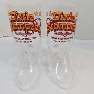 Vtg Set 2 Plastic Boot Mugs Dixie Stampede Live Horse Show