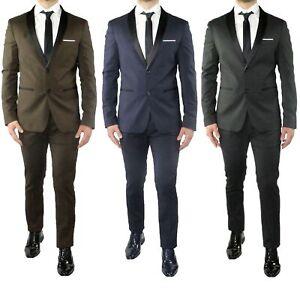 Abito-Uomo-Smoking-Elegante-Vestito-Completo-Estivo-Cerimonia-Sartoriale-Slim