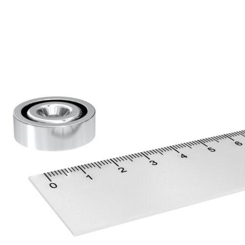 25x8 mm MIT 5.5 mm BOHRUNG UND SENKUNG NEODYM TOPF MAGNET N35 POWER MAGNETE