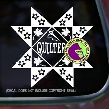 QUILTER Quilting Pattern Fabric Needle Quilt Car Window Wall Vinyl Decal Sticker