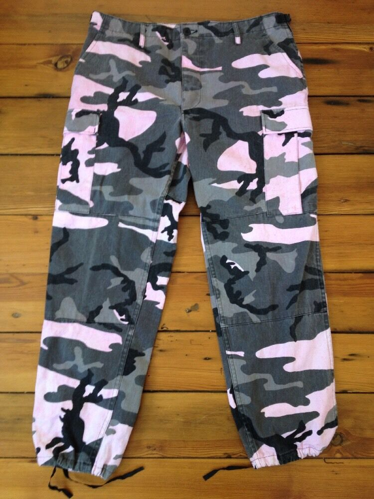 Propper Pink Overdyed Camo Cotton Blend Mens Army Combat Cargo Pants L Reg 38x30