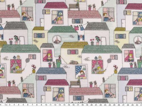 weiß-mehrfarbig Digitaldruck Häuser Baumwoll-Popeline