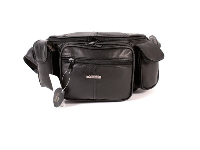 206b8753e86 EXTRA LARGE Black LEATHER Waist Bag bumbag money belt travel coin keycase  holder