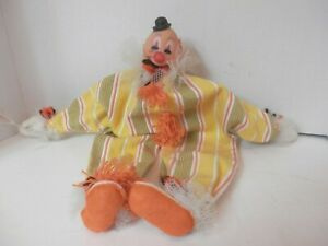 Vintage-Scary-Haunted-Clown-Doll-14x14-VGC-Homemade-Free-Shipping