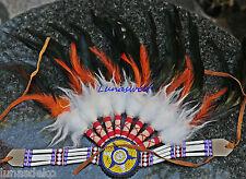 Indianer,Stirnband,Kopfschmuck,Federschmuck mit Perlenmandala 50x35cm