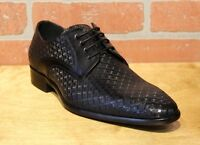 Calzoleria Toscana Men's Oxford Black Leather Dress Shoes Z231 Made In Italy