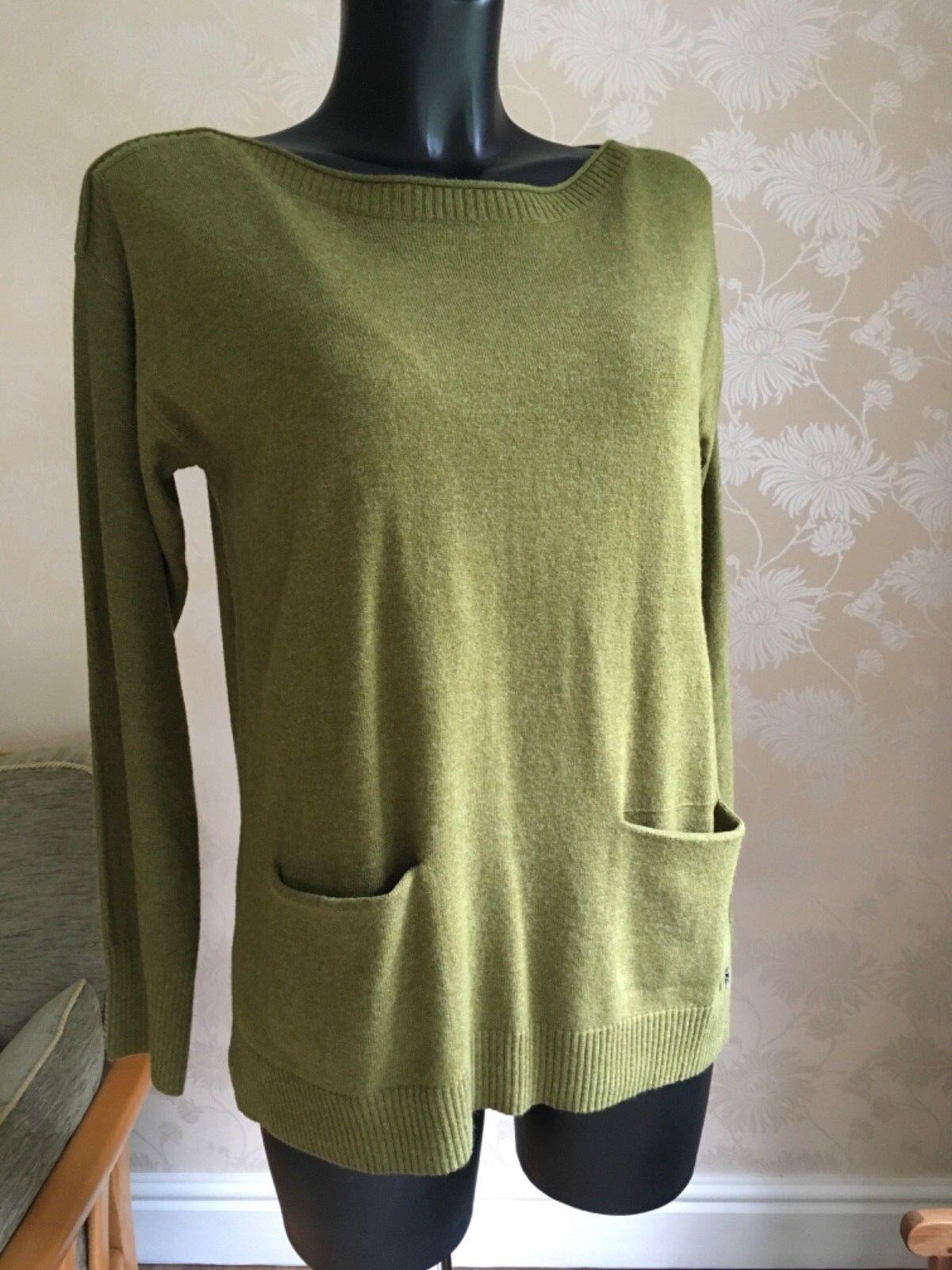 White Stuff Turmeric Green Soft Knit Top Jumper U.K. 12 14 Wool & Cashmere BNWT