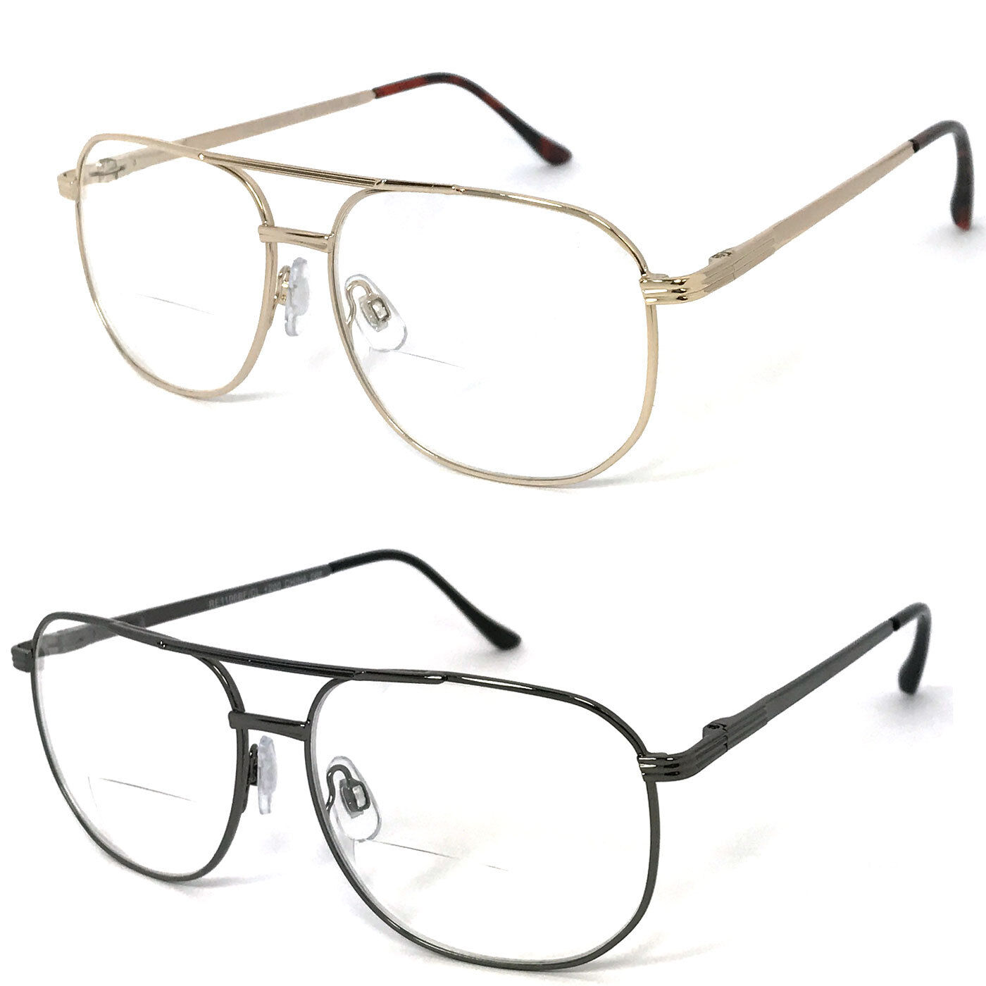 901f5cbb82b Details about 1 or 2 Pairs Metal Frame Large Aviator Bifocal Reading  Glasses Spring Temples