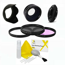 52MM WIDE ANGLE MACRO LENS + HOOD + FILTER KIT+ CAP FOR CANON EOS REBEL T3 T5 XT