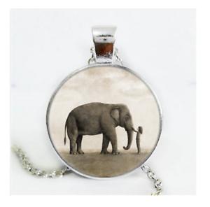 Éléphant Cabochon Verre Argent//Noir//Bronze Chaîne Collier Pendentif #CS12