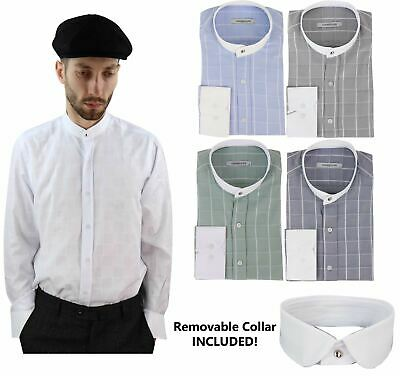 Details about  /Mens Retro Peaky Blinders Removable Collar Nehru Black Striped Collarless Shirt