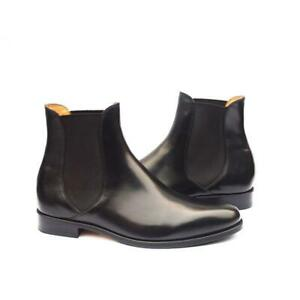 Chelsea-Boots-Black-Men-Luxury-Handmade-Calf-Leather-Dress-Shoes-Party-Casual