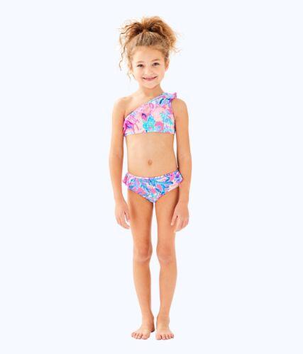 NWT Lilly Pulitzer Girls UPF50 Livia Swimsuit Light Pascha Pink Aquadesiac Sz 8