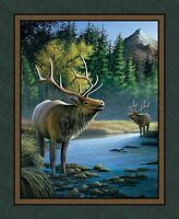 Lrg Beautiful Wildlife Panel Elk By Stream For Quilts Home Decor & Projects 2