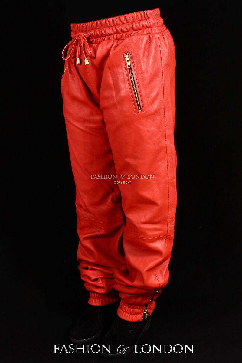 women Pantalón De Chándal red Piel De Cordero Premium Real Leather JOGGING 3040