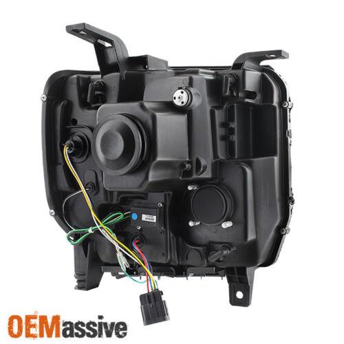 Fits 2014-2016 GMC Sierra 1500 2500HD 3500HD Black LED Tube Projector Headlights