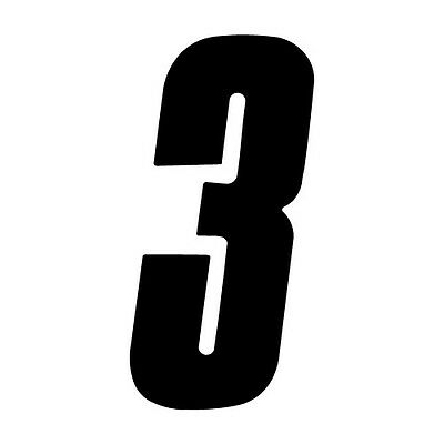 6 inch tall Black Race Number 5 racing numbers decals HiTack off road track dirt