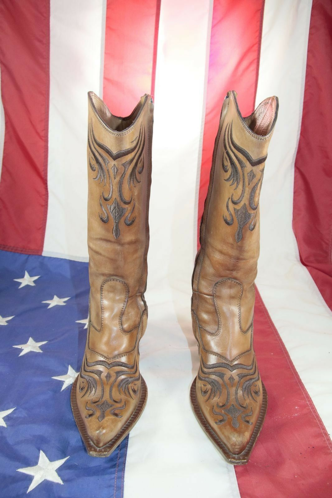 Bottes Cod.ST1634 d'occassion N.37 cuir marron Femme Cow-boy Country vintage