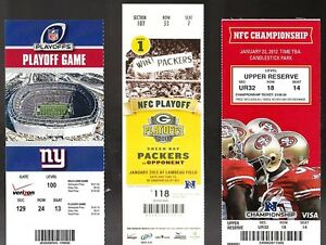 2dfda175 Details about 2011-12 NFL NY GIANTS FULL UNUSED PLAYOFF FOOTBALL TICKETS  RUN TO SUPER BOWL