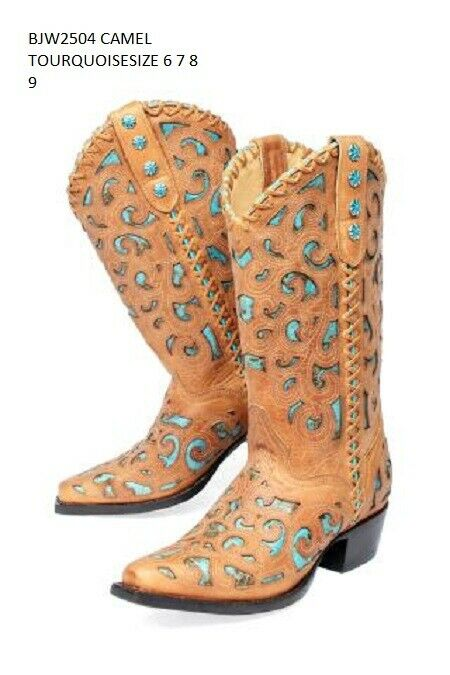 BOOTS WOMEN 'S COWGIRL WESTERN CAMEL WITH TURQUOISE INLAY LEATHER IMPORT USA