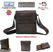 New Dark Brown Travel Leather Bag crossbody Men Women Messenger Shoulder Unisex