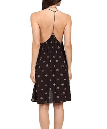 Billabong BEING FREE Off Black Floral Print Loose High-Low Junior/'s Mini Dress