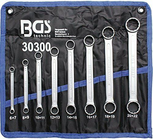 BGS Double Ring Spanner Set, extra flat, 6 to 22 mm, set of 8, 1piece, 30300