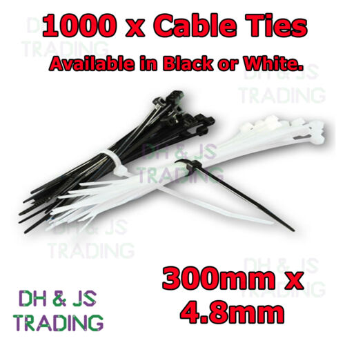 White Zip Tie Wrap Wraps Base 1000 Pack Black Cable ties 300mm x 4.8mm