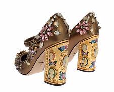 DOLCE & GABBANA Coco Bronze Napa Mary Jane Pump Shoe Cameos Crystals 40/10