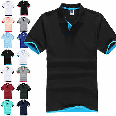 NEW Men's Golf Polo T-Shirt Male Short Sleeve MultiColors Shirts Tops Plus Size