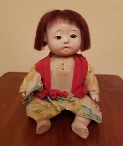 Details about Vintage Ichimatsu Gofun Japanese Doll including Voice Box /  Noise Maker Red Hair