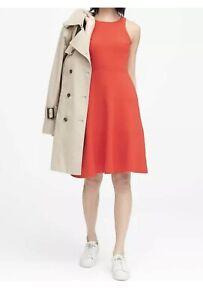 NWT-Banana-Republic-118-Stretch-Racerback-Fit-amp-Flare-Dress-Size-2-Orange-Red
