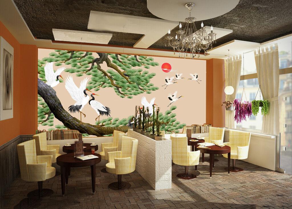 3D Tree Cranes 818 WallPaper Murals Wall Print Decal Wall Deco AJ WALLPAPER