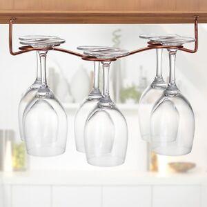 6 Wine Glass Rack Stemware Under Cabinet Holder Hanger Shelf Kitchen