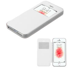 For Apple iPhone SE 5s 5 WHITE Window Leather Flip Wallet Case Cover Slim Thin