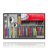 Stainless Flatware Set Service For 6 Colorful Silverware Sharp Knives Cutlery