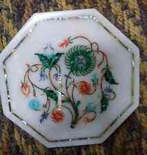 "9"" White Marble Tile Rare Marquetry Malachite Inlay Gemstone Home Deco Art H2806"