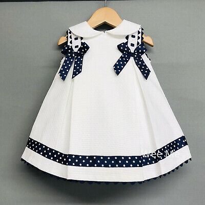 Girls Spanish Dress Girls Spanish Clothes Red Striped Dress with Navy Bows