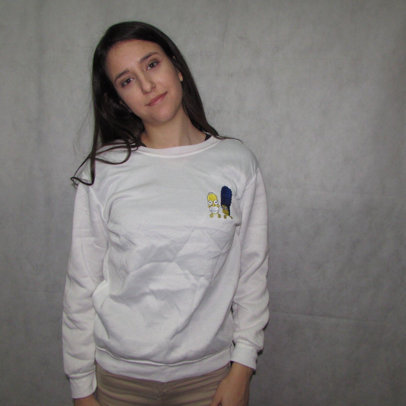 The Simpsons FAMILY True Vintage JUMPER CREW WHITE WHITE WHITE Sweatshirt MEDIUM SIZE WOMENS 2a3353