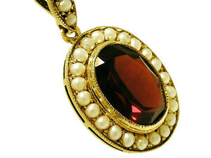 Genuine 9ct yellow gold natural large garnet pearl cluster oval image is loading genuine 9ct yellow gold natural large garnet amp aloadofball Choice Image