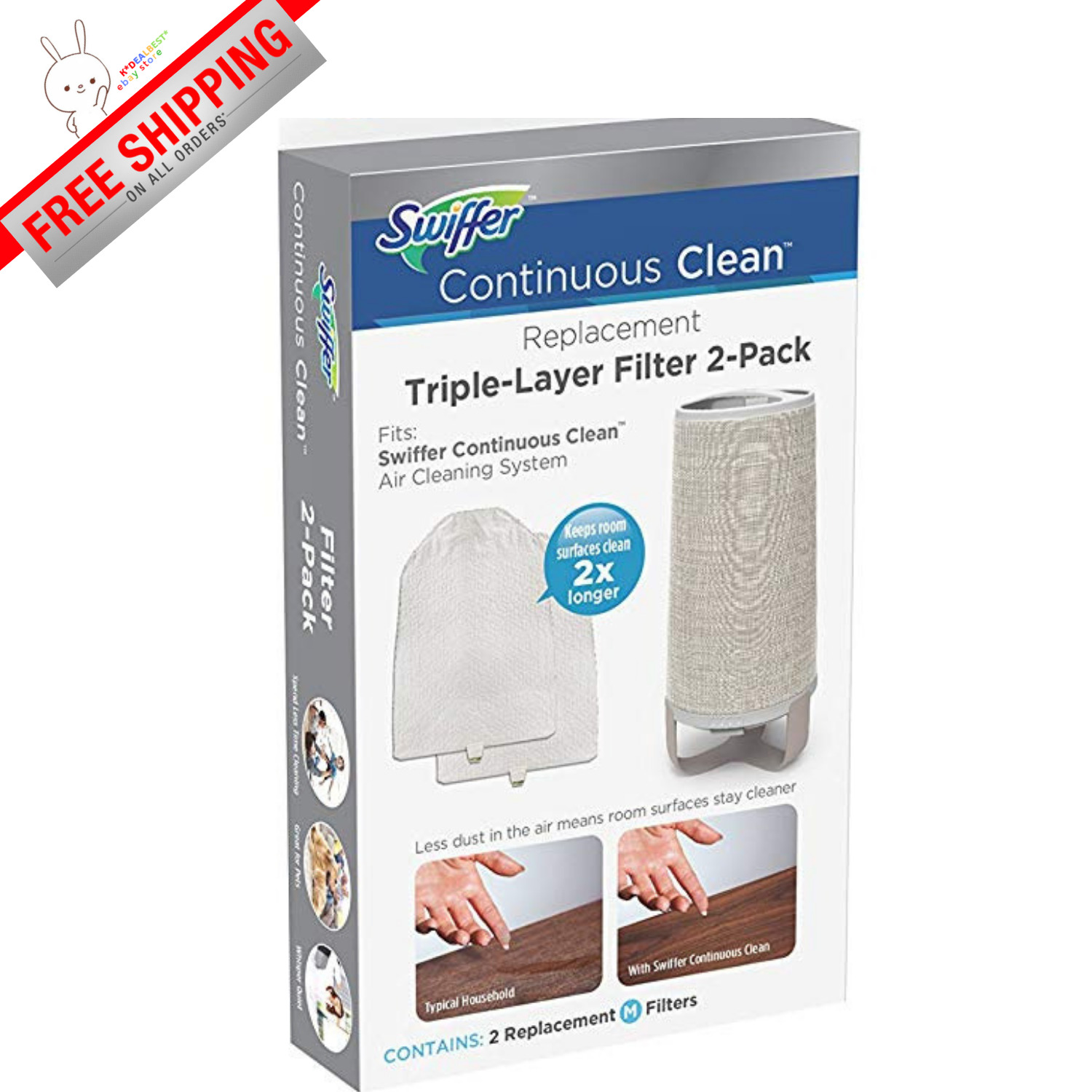 Swiffer Continuous Clean System Replacement Filters 2 Pack BRAND NEW !!!