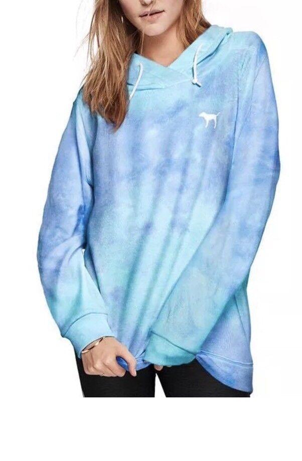 Victoria's Secret Rosa Crotver Tie Dye Tunic Hoodie Sweatshirt Blau Medium NWT