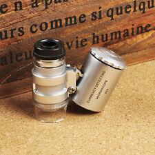Handgerät Tasche Mikroskop Lupe Juwelier Silber Vergrößerungsglas Mit LED Licht