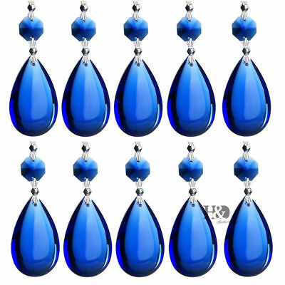 10PCS Blue TearDrop Crystal Prisms Glass Lamp Chandelier Lighting Pendant 50mm