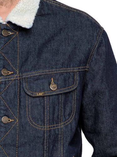 Winter Coat Rider Collar Giacca Fur Rinse in Sherpa Lee denim Blue Mens Jean Warm zdqwxS6P