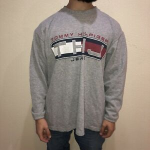Details about Vintage 1990s Tommy Hilfiger Jeans THJ Spell Out Flag Gray Crewneck Sweatshirt L