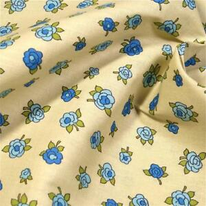 36-034-W-Vintage-Cotton-Floral-Fabric-Small-Blue-Roses-on-Cream-Per-1-2-Yd